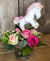 Unicorn Welcome Baby Girl Cube Vase Arrangement