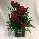 Unique Dozen Red Rose Arrangement