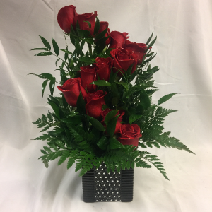 Unique Dozen Red Rose Arrangement  in Detroit Lakes, MN | DETROIT LAKES FLORAL