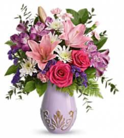 Unique lavender Bouquet Keepsake lavender vase in Fairfield, OH | NOVACK-SCHAFER FLORIST