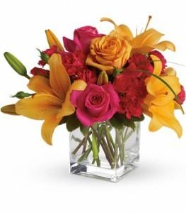 Uniquely Chic Flowers Cube Arrangement