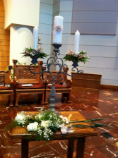 Unity candles with flowers and holder rental