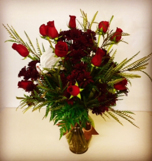 Until We Meet Again... Glass Vase Fall Design. Red Roses with Fall Filler and Accented with White Dove. in Plainview, TX | Kan Del's Floral, Candles & Gifts