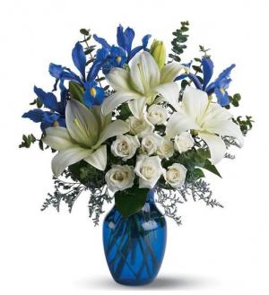 uplifting blue Vase Arrangement in Lebanon, NH | LEBANON GARDEN OF EDEN FLORAL SHOP