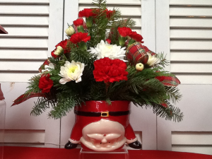 Upside Down Santa Christmas 2020 All around arrangement in Berwick, LA | TOWN & COUNTRY FLORIST & GIFTS, INC.