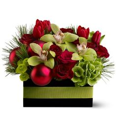 URBAN YULETIDE Christmas Centerpiece in Worthington, OH | UP-TOWNE FLOWERS & GIFT SHOPPE