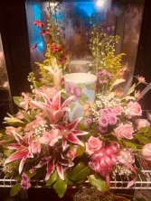 Urn/ Arrangement lillies/roses/filler