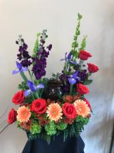 Memorial Urn  Cremation flowers
