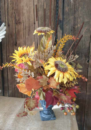 Urn planter with fall  permanent floral