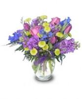 PURPLE FLORAL MEDLEY Vase of Flowers