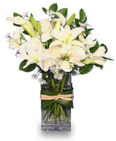 FRESH SNOWFALL Vase of Flowers in West Hills, CA | RAMBLING ROSE FLORIST