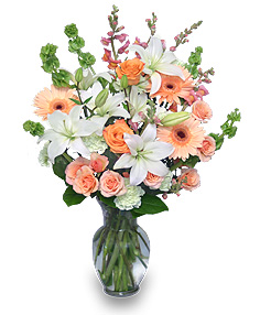 Peaches & Cream Flower Arrangement in Redding, CT | Flowers and Floral Art