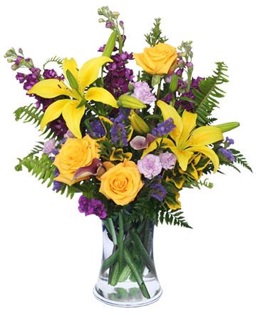 Stellar yellow flower arrangement in annandale va pink posey florist stellar yellow flower arrangement mightylinksfo