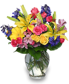 RAINBOW OF BLOOMS Vase of Flowers in Union, MO | Sisterchicks Flowers and More LLC