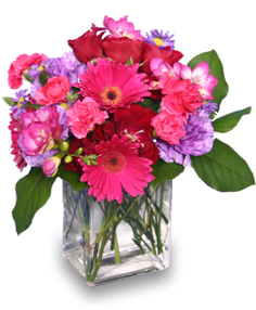 HOT PINK PIZZAZZ  Flower Arrangement in Youngstown, OH | BLOOMING CRAZY FLOWERS AND GIFTS