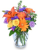 SUNSET WALTZ Vase of Flowers in Calgary, Alberta | FIRST CLASS FLOWERS LTD.