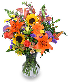 HARVEST RHAPSODY Fresh Flower Vase in Presque Isle, ME | COOK FLORIST, INC.
