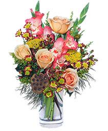 PEACHY KEEN Vase of Flowers