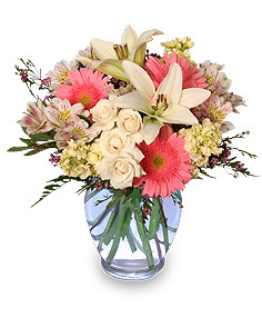Welcome Baby Girl Flower Arrangement in North Salem, IN | GARDEN GATE GIFT & FLOWER SHOP