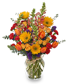 Fall Treasures Flower Arrangement in Islip, NY | Elegant Designs by Joy