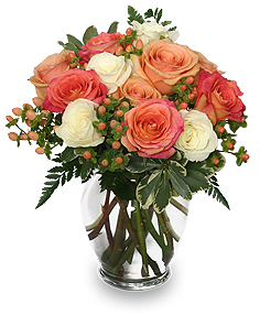 Peach & White Roses Bouquet