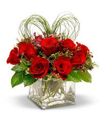 V-1 Square vase w/12-red roses, and Heart shaped Bear grass