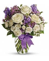 V-10 LAVENDER AND WHITE VASE ARRANGEMENT