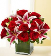 V-22 RED ROSES AND STAR GAZER SQUARE VASE ARRANGEMENT
