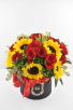V-24 RED ROSES, W/SUNFLOWERS IN A BLACK HAT BOX
