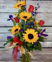 V-28 RED ROSE, SUNFLOWERS AND PURPLE IRIS ARRANGEMENT