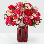 V-3 HOT PINK ROSES, RED CARNATIONS AND PINK ASTROMERIAS
