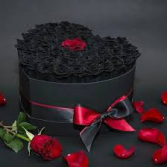 "V-32 CUSTOM/PREMIUM 2-DOZ. ""BLACK"" ROSES IN HAT BOX"