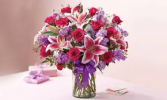 V-33 1-DOZ. HOT PINK ROSES, STAR GAZERS AND LAVENDER STOCK