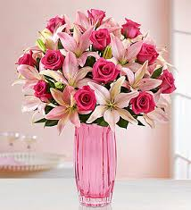 V-35 1-DOZ. HOT PINK ROSES, W/PINK LILLIES