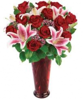 V-39 DOZEN RED ROSES, W/STAR GAZER LILLIES
