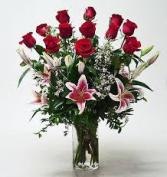 V-4 PREMIUM DOZEN RED ROSES, W/STAR GAZER LILLIES