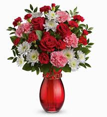 V-5 RED ROSES, PINK CARNATIONS, AND WHITE DAISIES