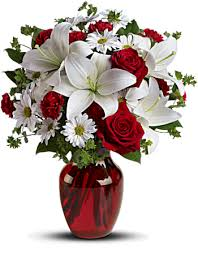 V-6 RED ROSES, CARNATIONS AND WHITE LILLIES,