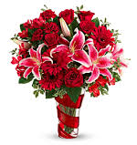 V-7 RED ROSES, CARNATIONS, GERBER DAISIES AND STAR GAZER LILLIES