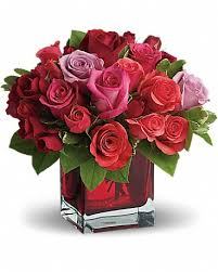 V-8 MULTI-COLOR ROSES IN A SQUARE VASE
