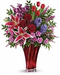V-9 ASSORTED STAR GAZER, CARNATIONS, RED ROSES, AND TULLIPS