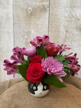 Lovey Kitty arrangement in keepsake cat pot
