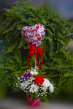 Valentine Arrangement with Mylar Balloon