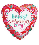 Valentine's Day Balloons Bouquet 2 Mylar Valentine Balloons with 5 Red Latex Balloons