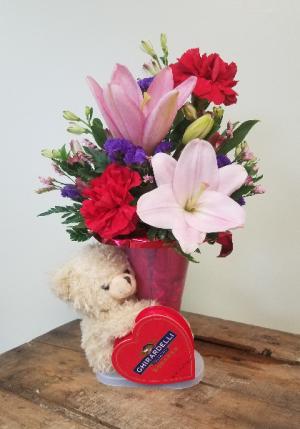 Valentine Bear Hug  in Presque Isle, ME | COOK FLORIST, INC.
