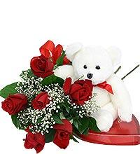 Valentine Bundle 2 1/2 doz roses, Bear & Chocolates