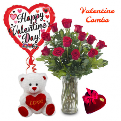 Valentine Combo Deluxe 1 Dozen 60cm roses ,Teddy Bear, Balloon ,Chocolates