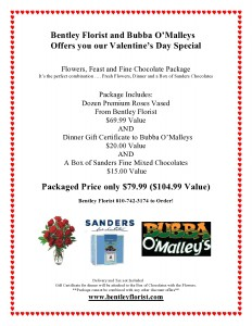 Valentine Day Special Flowers, Feast and Fine Chocolate Package in Burton, MI | BENTLEY FLORIST INC.