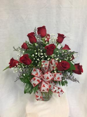 Valentine Dozen Rose Arrangement in Wilmore, KY | RACHEL'S ROSE GARDEN