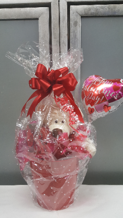 Valentine Gift Pail w/bear, candies and balloon $30.95